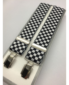 - Masonic Braces - Chequered Black & White